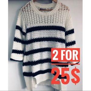 Suzy Shier Striped White Blue Fuzzy Sweater